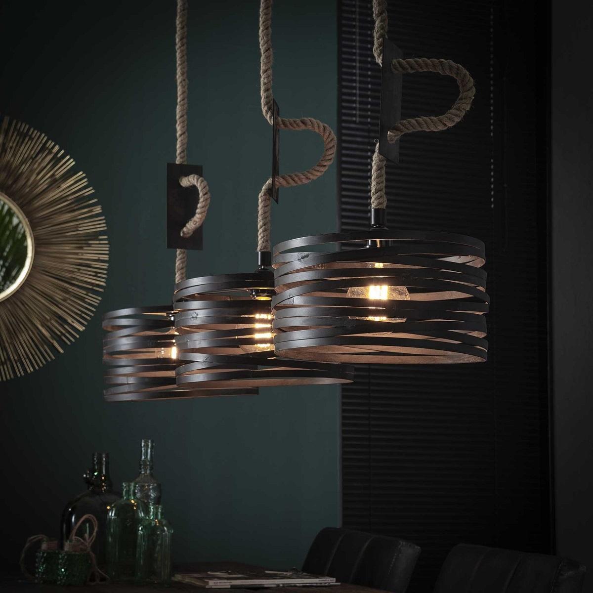 Hanglamp Twister 122 cm breed met 3xØ30 in slate grijs