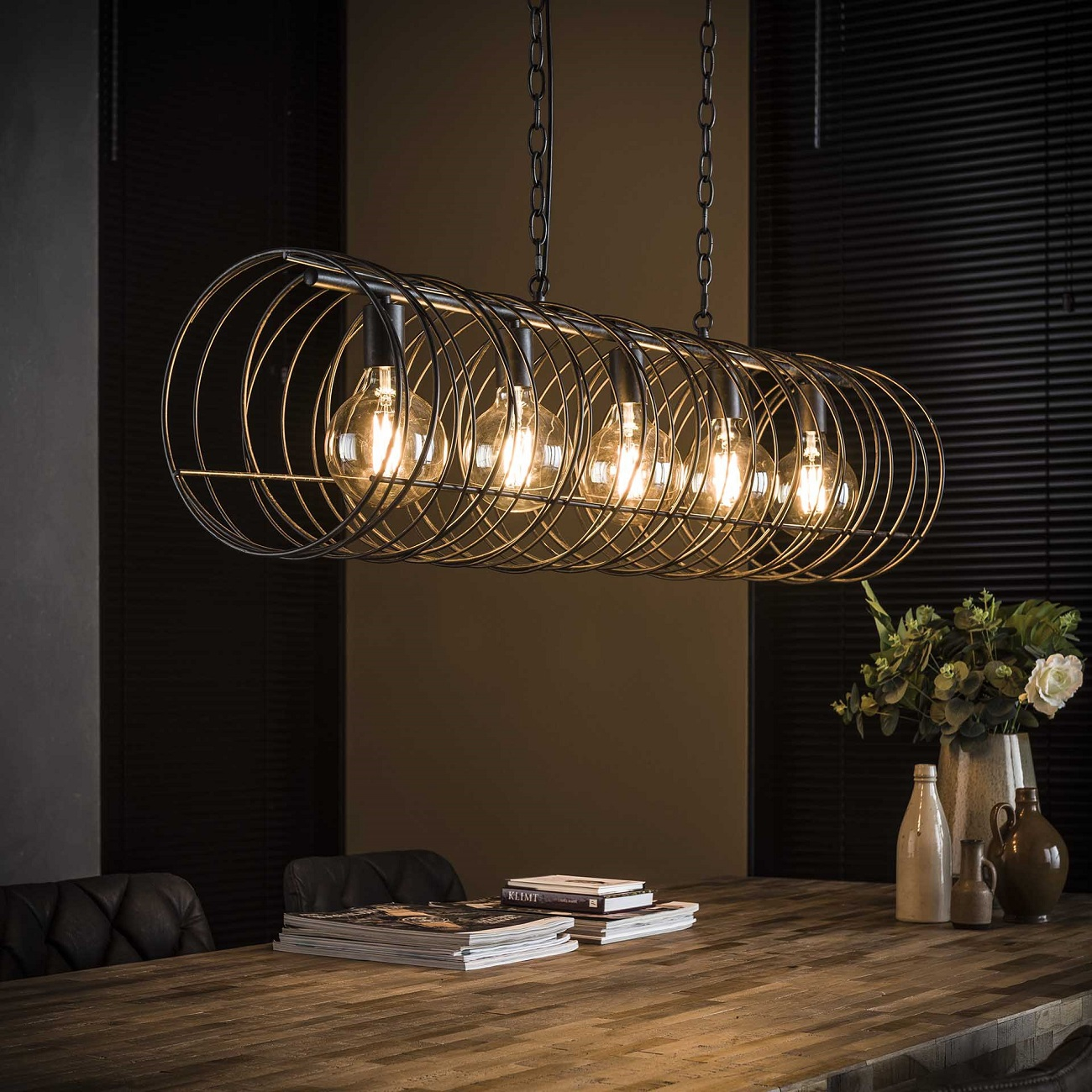Hanglamp Willy Ø28 van 120 cm breed in charcoal