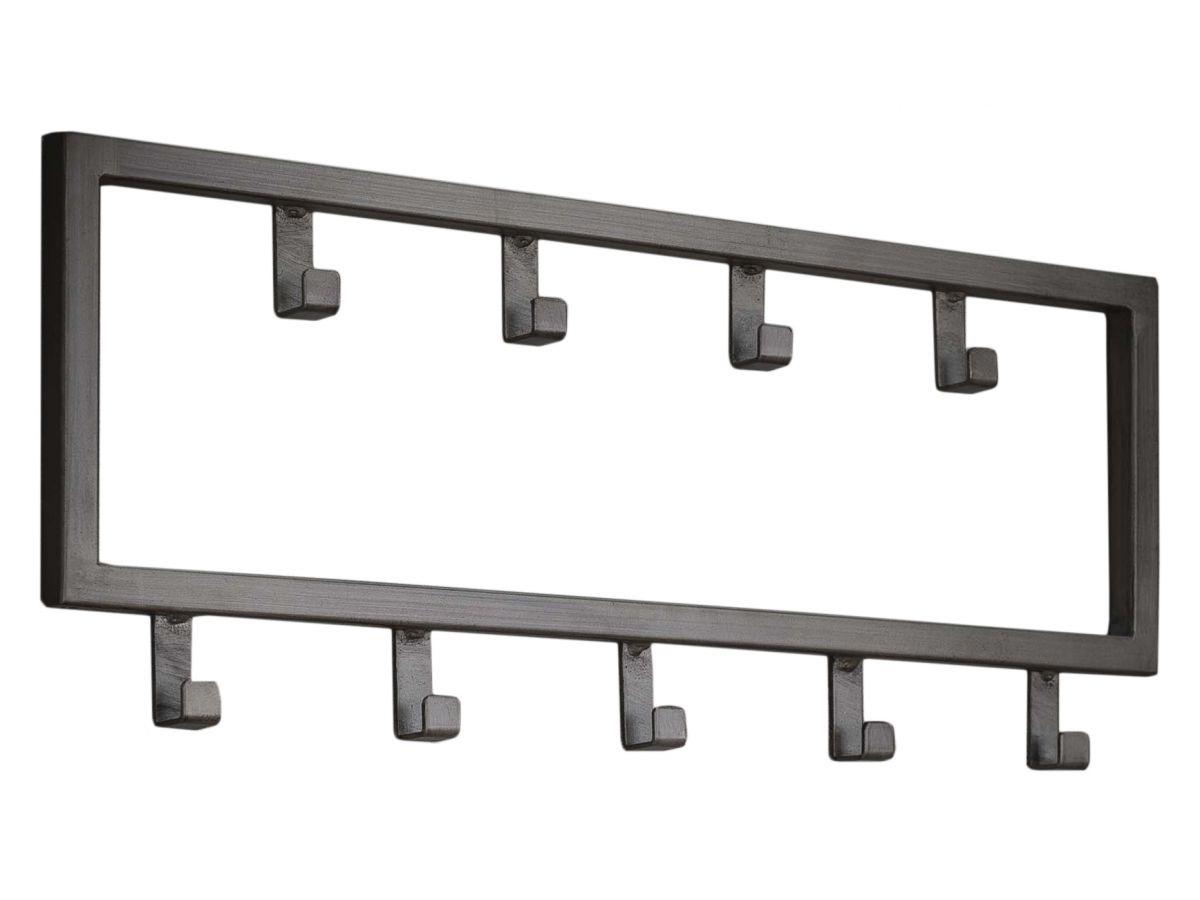 Kapstok Industrial van 50 cm breed met 9 haken Zilver