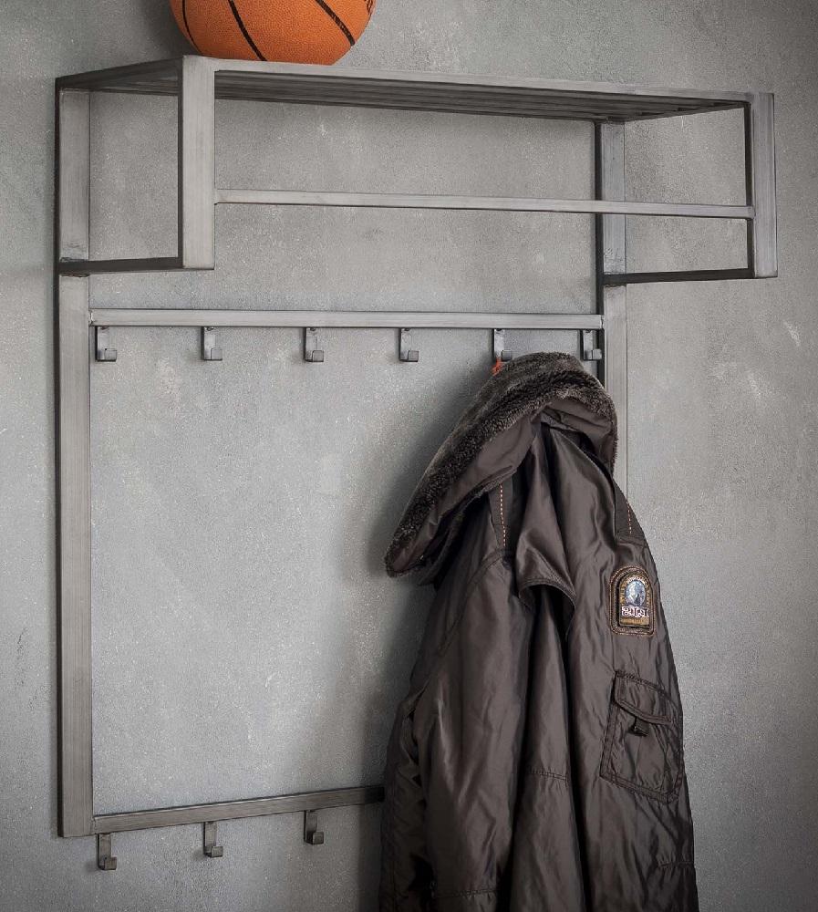 Kapstok Industrial van 80 cm breed met 12 haken Zilver