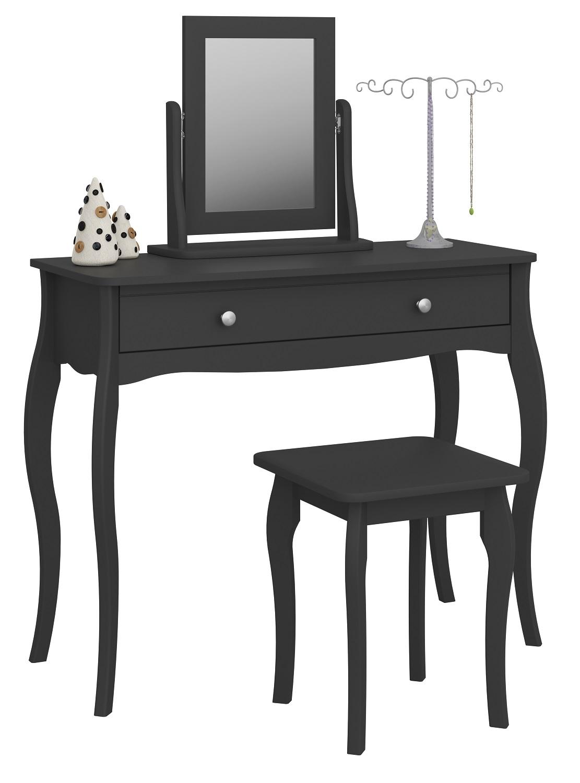 Kaptafel Set Baroque 100 cm breed in zwart met spiegel