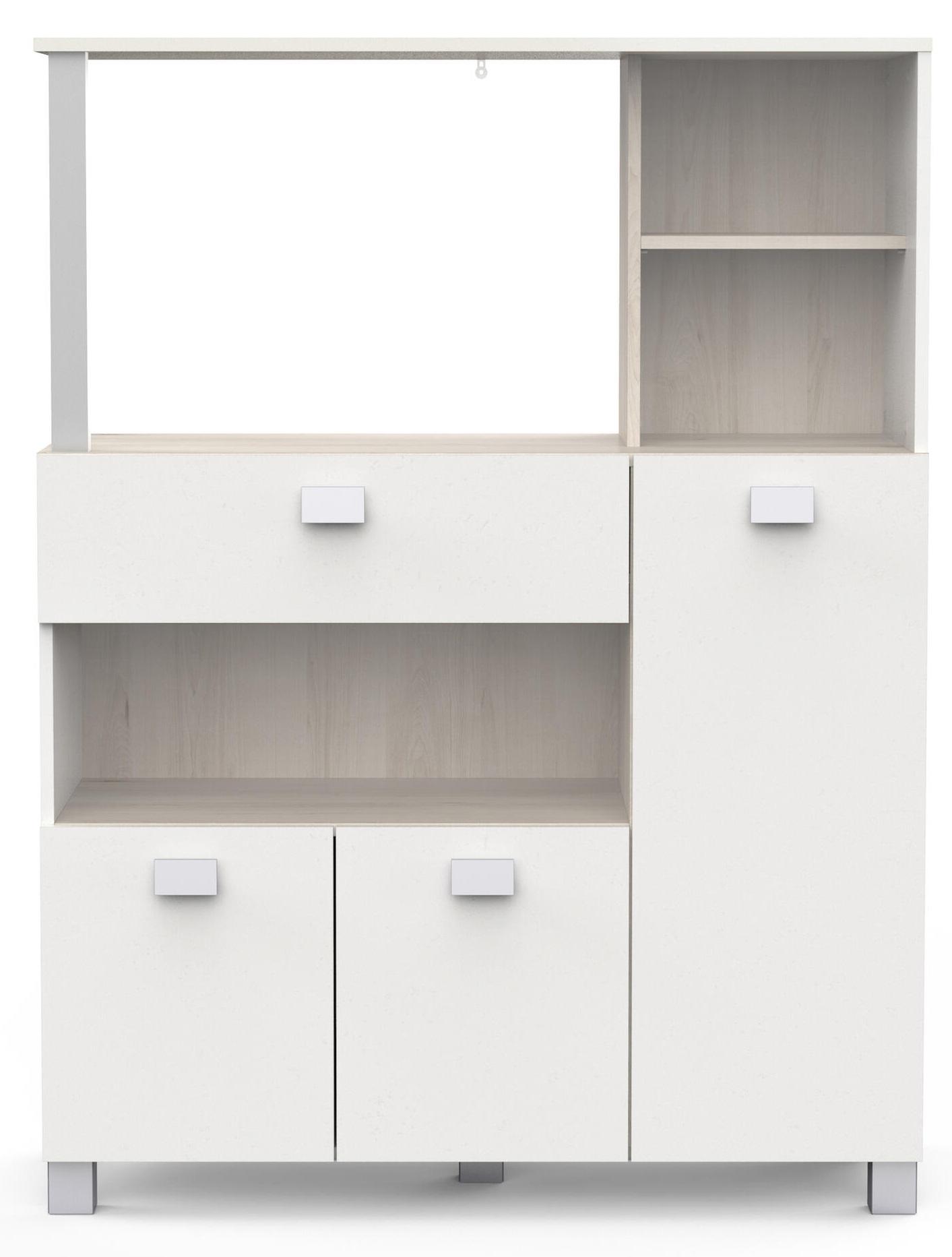 Keukenkast Basal 132 cm hoog in wit met acacia
