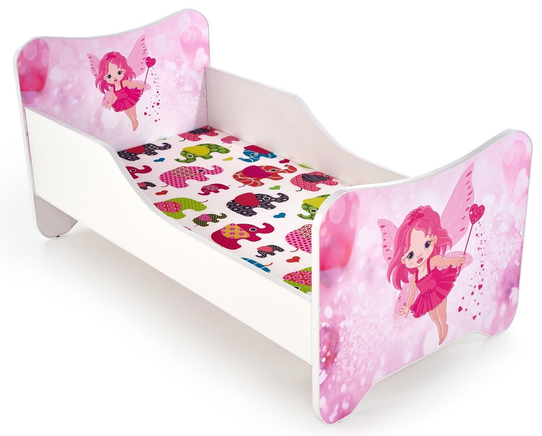 Kinderbed Happy Fee 70x140cm in wit met roze
