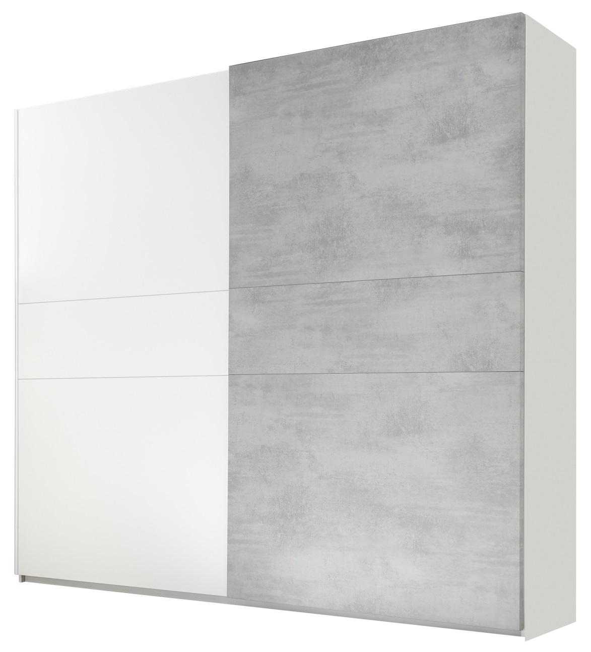 slaapkamerkast zweefdeurkast Amalti 275 cm breed in mat wit met grijs beton