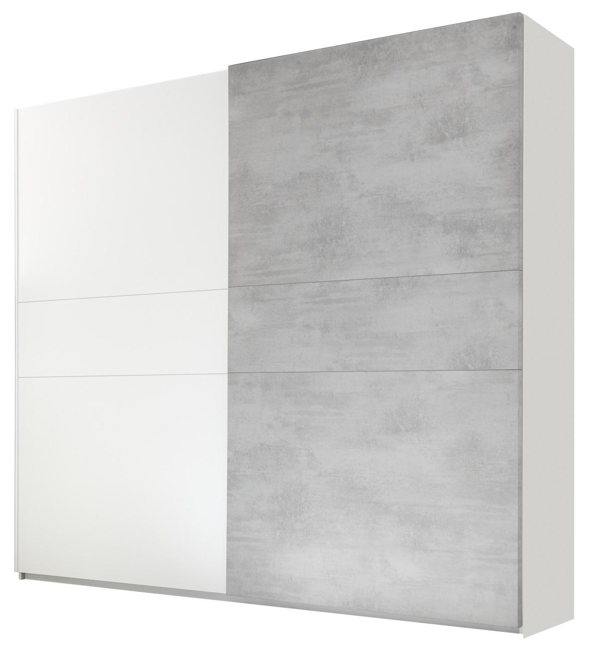 Schuifdeurkast Amalti 275 cm breed in mat wit met grijs beton