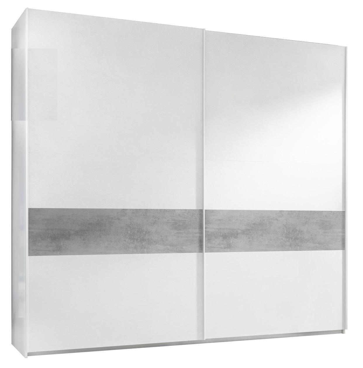 slaapkamerkast zweefdeurkast Amalti Alpaca 275 cm breed in mat wit met grijs beton