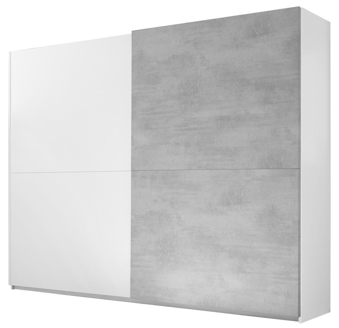 Kledingkast Amalti Full 220 cm breed in mat wit met grijs beton