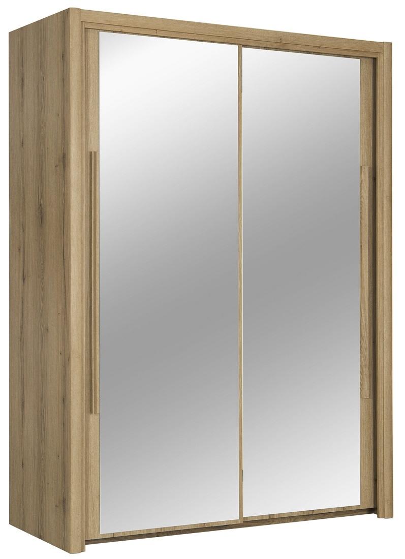 slaapkamerkast zweefdeurkast Cyrus 153 cm breed in helvezia eiken