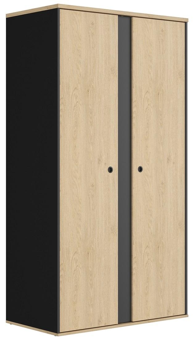 slaapkamerkast zweefdeurkast Duplex 105 cm breed in naturel kastanje met zwart