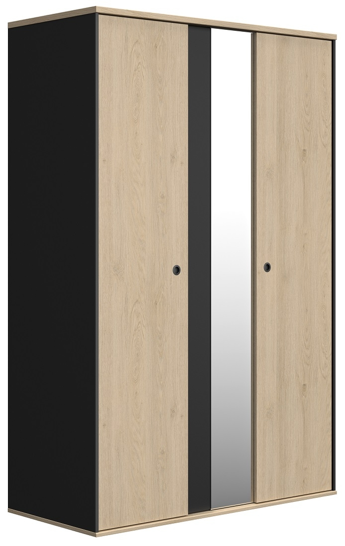 slaapkamerkast zweefdeurkast Duplex 130 cm breed in naturel kastanje met zwart
