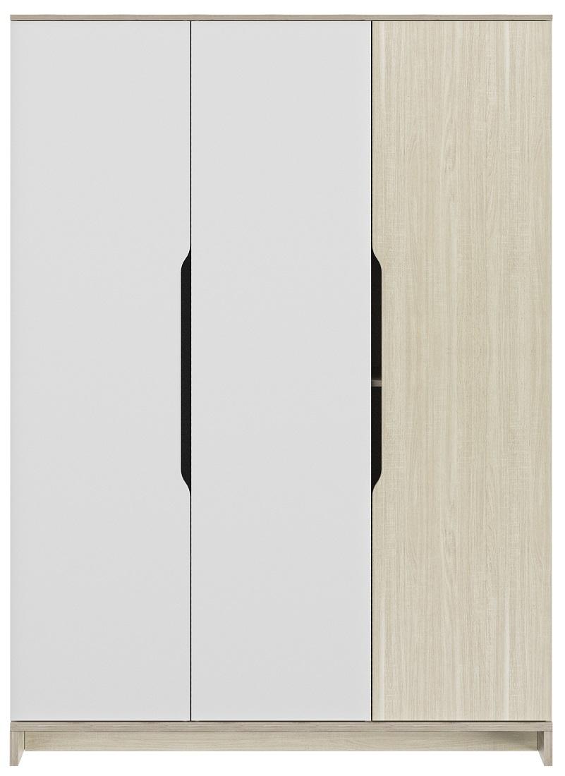 Kledingkast Gray 145 cm breed in wit met eiken