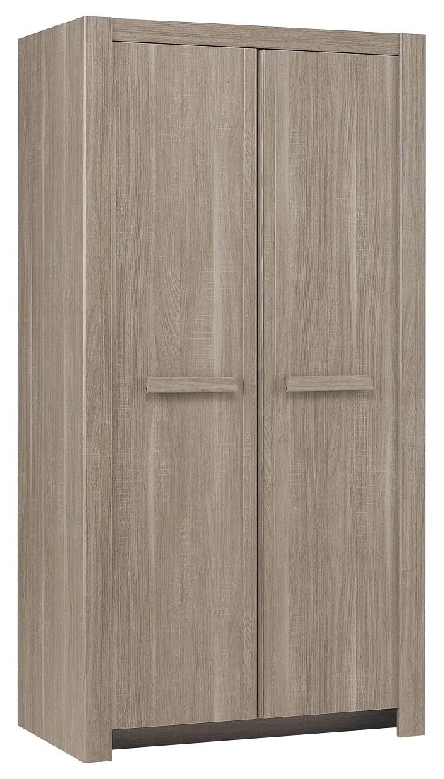 slaapkamerkast zweefdeurkast Hangun 101 cm breed in houtskool eiken