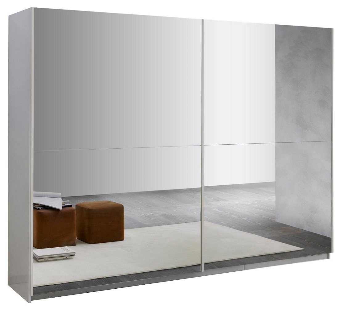 Slaapkamer kledingkast Kenzo 148 cm breed - compleet spiegel met hoogglans wit