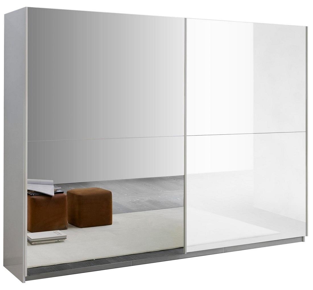 slaapkamerkast zweefdeurkast Kenzo 148 cm breed  Hoogglans wit met spiegel