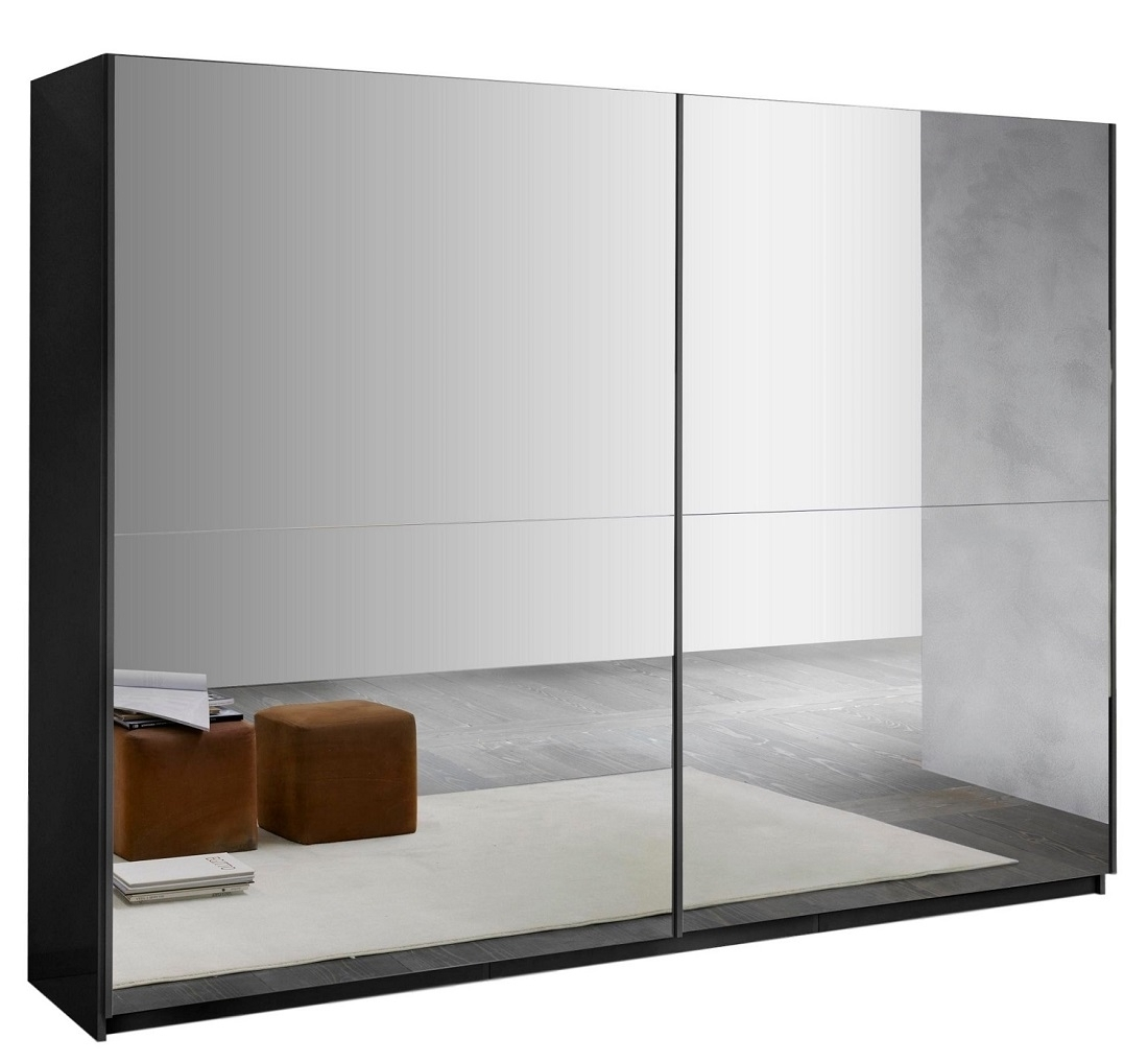 slaapkamerkast zweefdeurkast Kenzo 148 cm breed  compleet spiegel met hoogglans Zwart