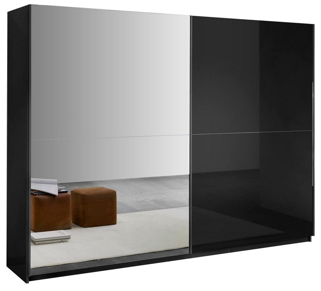 slaapkamerkast zweefdeurkast Kenzo 148 cm breed  Hoogglans zwart met spiegel