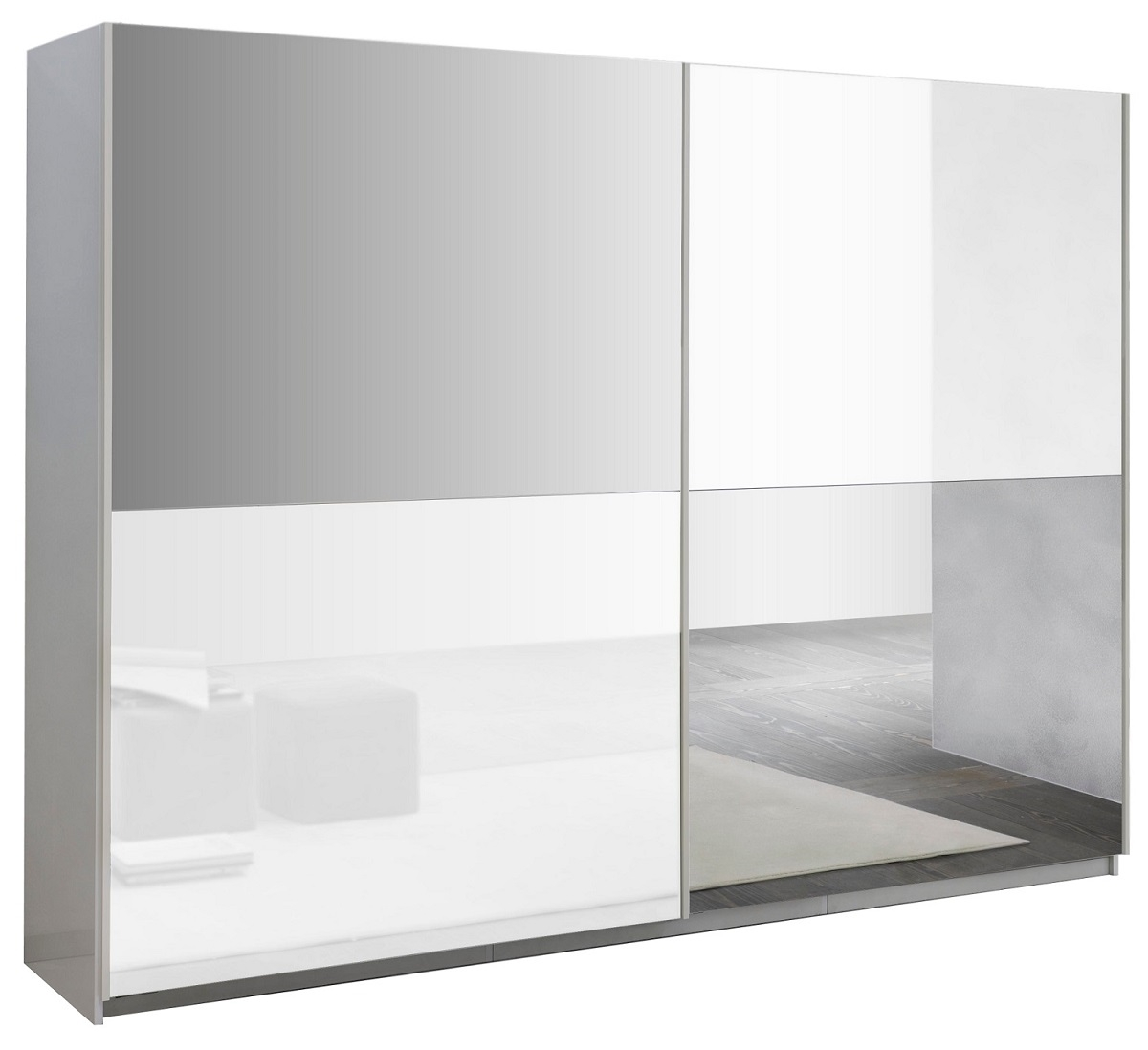 Kledingkast Kenzo 180 cm breed – Hoogglans wit met spiegel