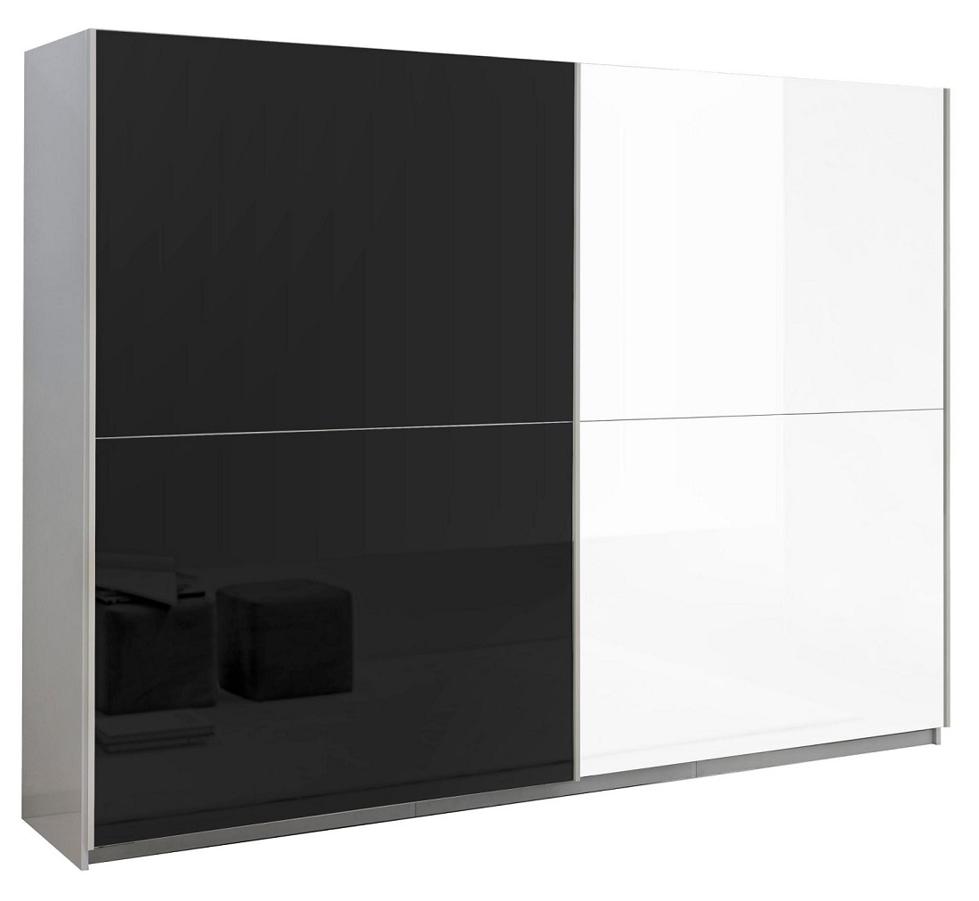 slaapkamerkast zweefdeurkast Kenzo 180 cm breed  Hoogglans wit met zwart