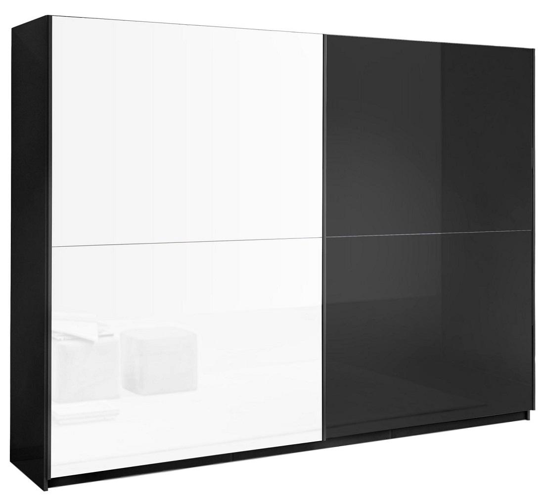 slaapkamerkast zweefdeurkast Kenzo 180 cm breed  Hoogglans zwart met wit