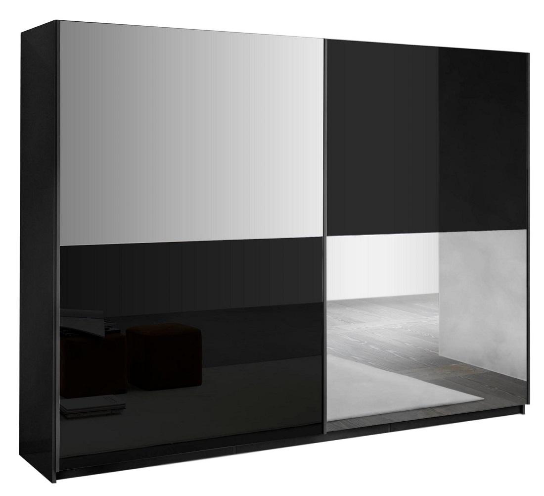 slaapkamerkast zweefdeurkast Kenzo 230 cm breed  Hoogglans zwart met spiegel