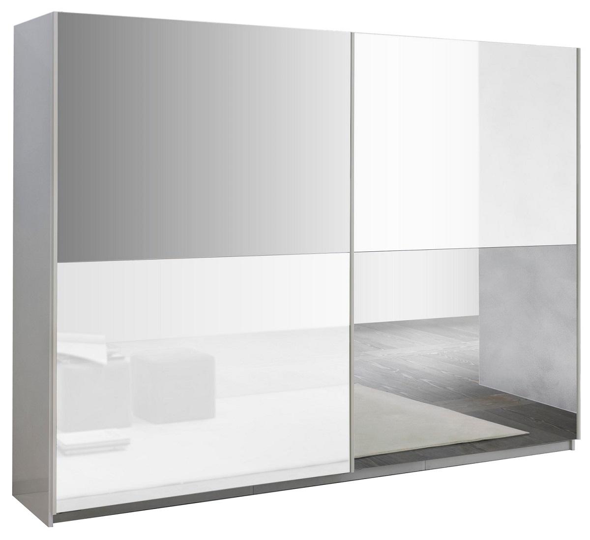 slaapkamerkast zweefdeurkast Kenzo 263 cm breed  Hoogglans wit met spiegel