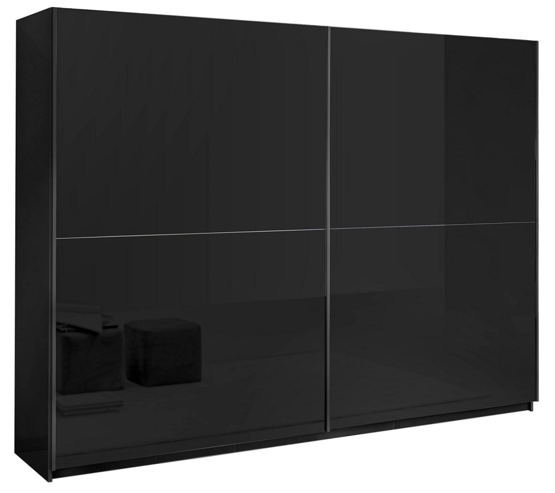 slaapkamerkast zweefdeurkast Kenzo 263 cm breed  Hoogglans zwart
