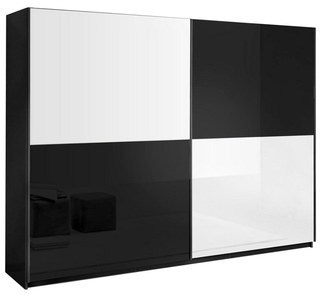 slaapkamerkast zweefdeurkast Kenzo 263 cm breed  Hoogglans zwart met wit