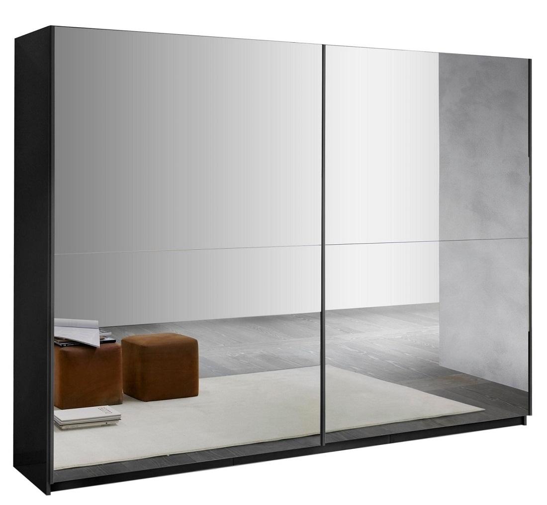 slaapkamerkast zweefdeurkast Kenzo 263 cm breed  compleet spiegel met hoogglans zwart