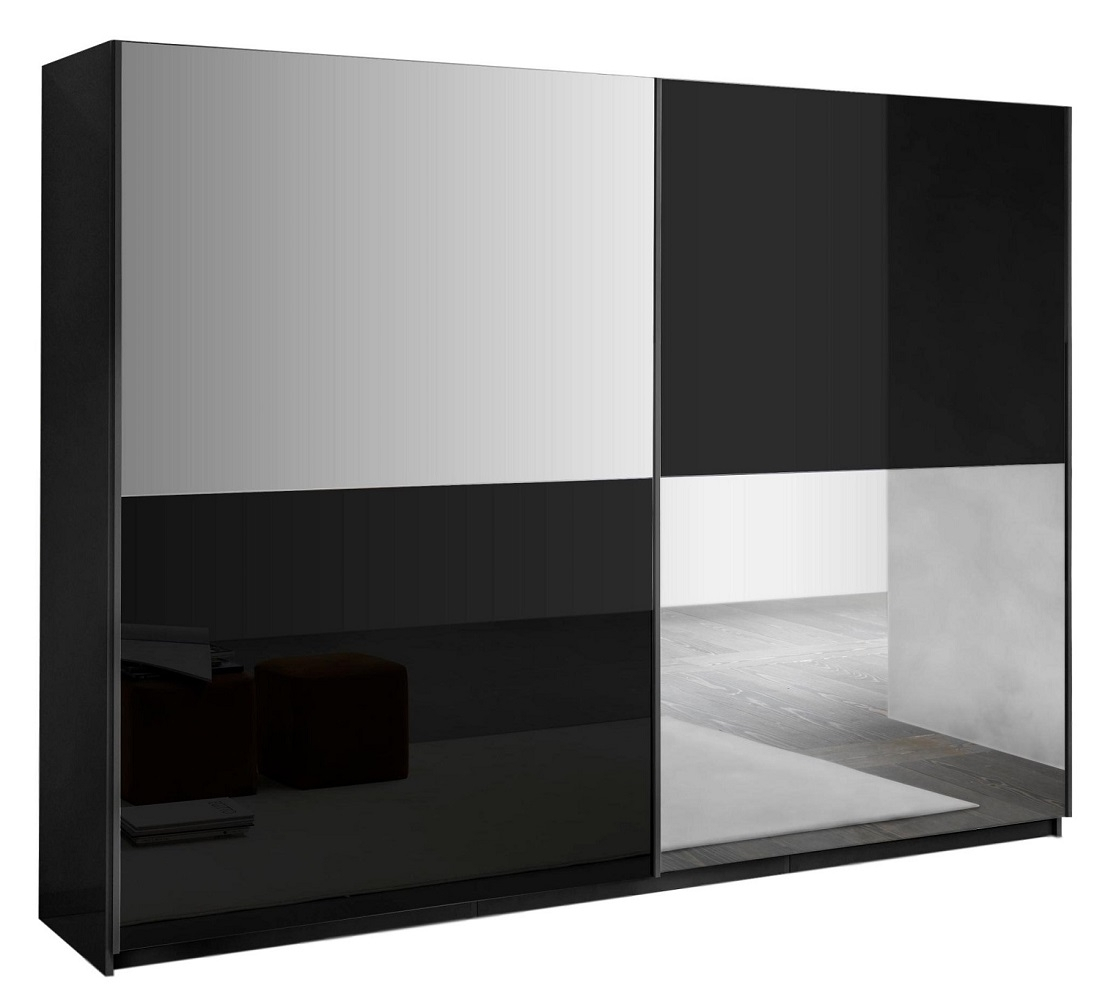 slaapkamerkast zweefdeurkast Kenzo 263 cm breed  Hoogglans zwart met spiegel
