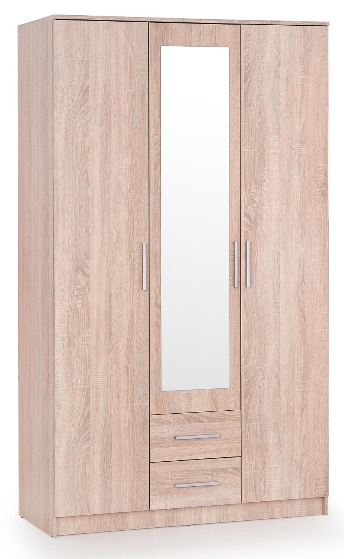 Kledingkast Lima 120 cm breed in sonoma eiken met spiegeldeur
