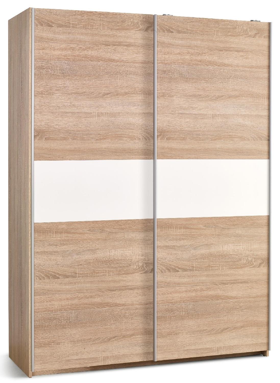 Schuifdeurkast Lima 153 cm breed in sonoma eiken met hoogglans wit