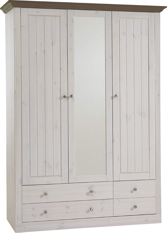 Kledingkast Monaco 145 cm breed in wit whitewash met steen