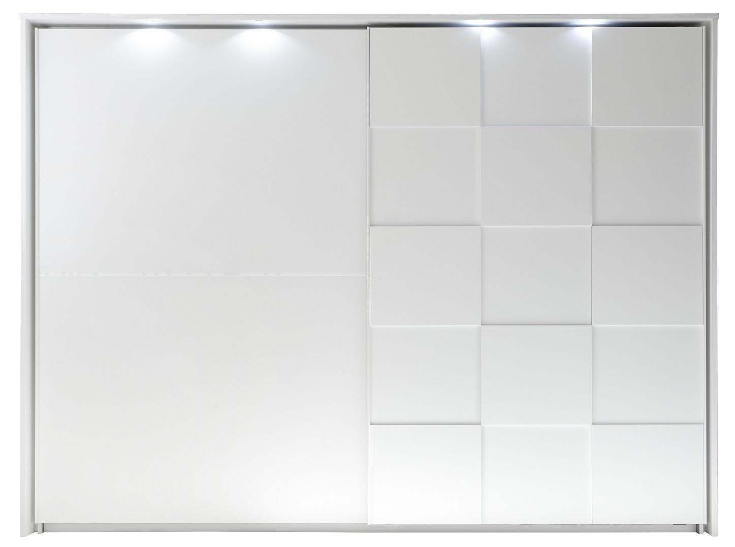 slaapkamerkast zweefdeurkast Ottica 275 cm breed in mat wit