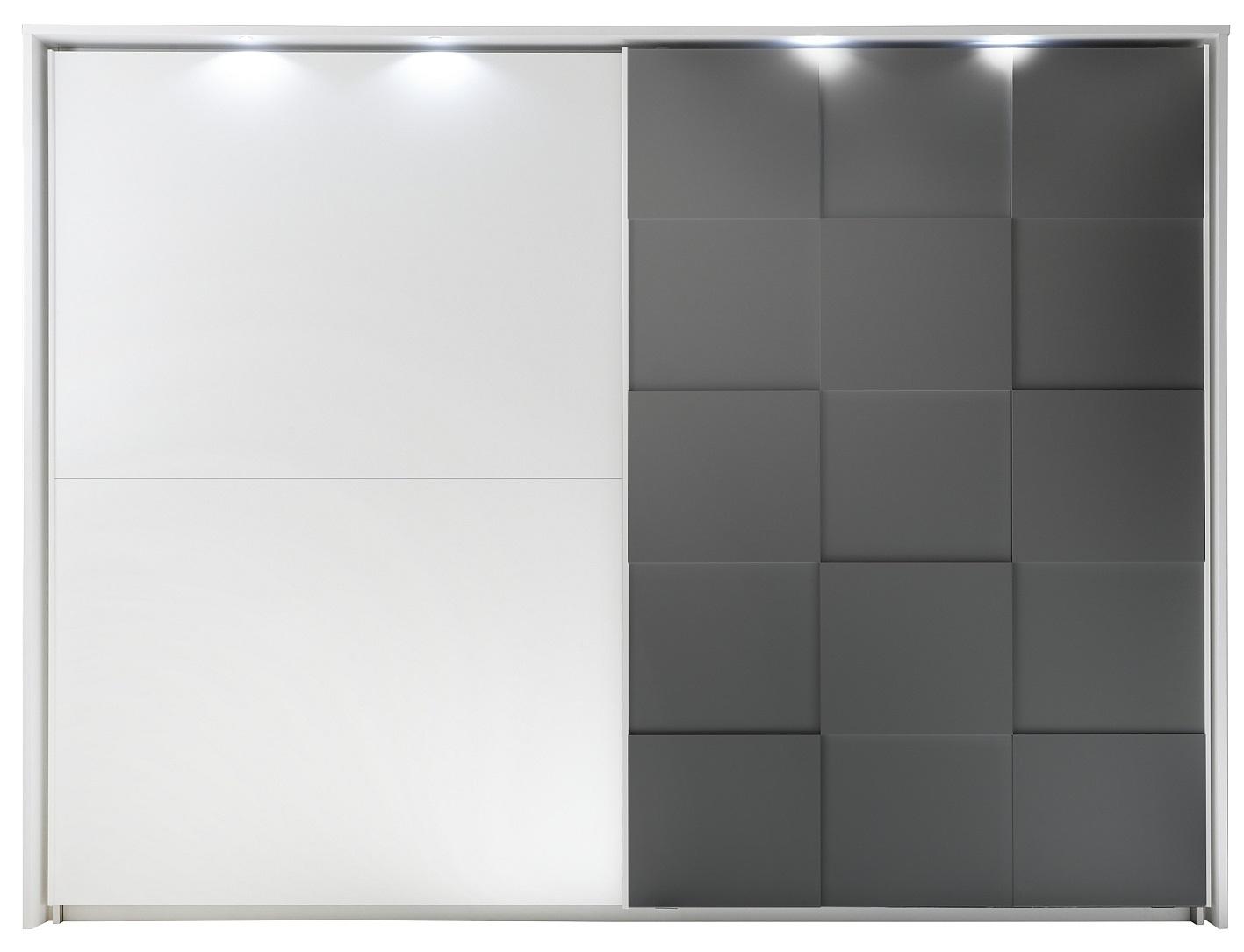 Schuifdeurkast Ottica 275 cm breed in mat wit met mat grijs