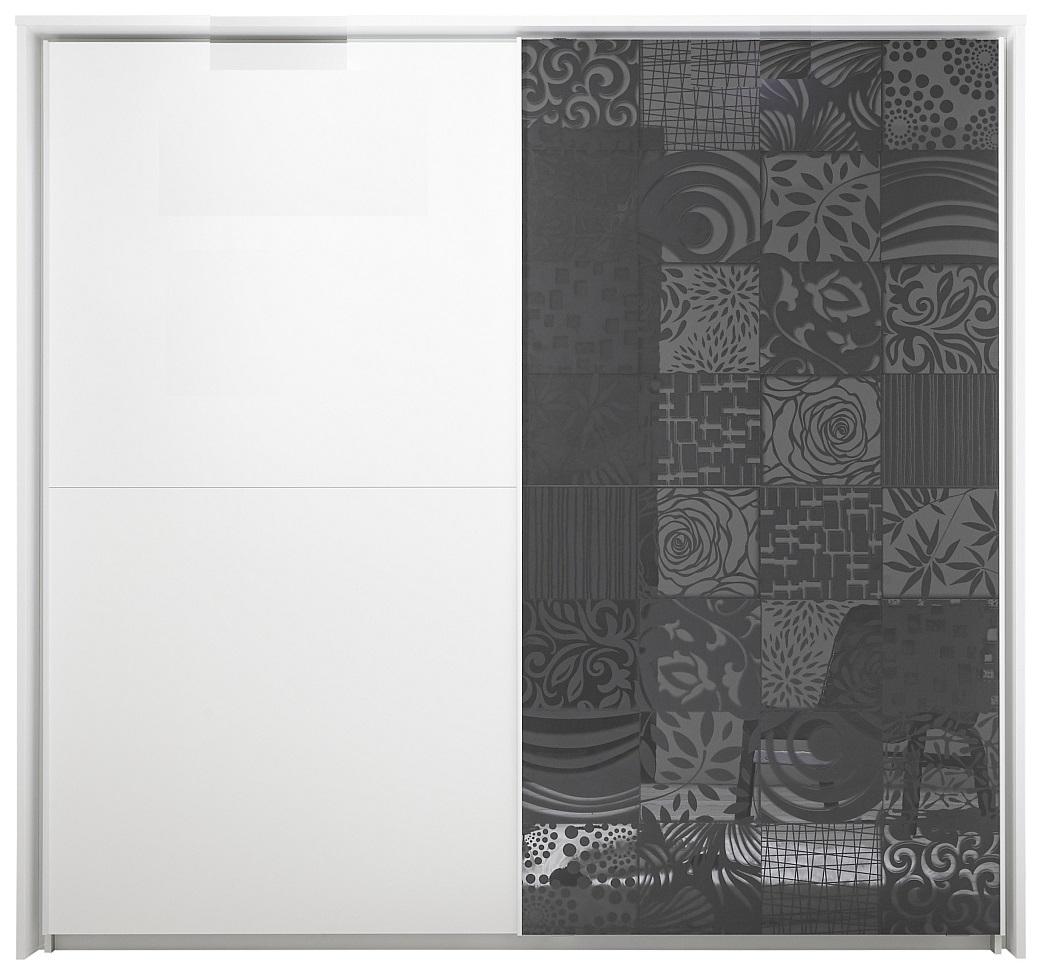 Schuifdeurkast Perez 220 cm breed in mat wit met hoogglans antraciet