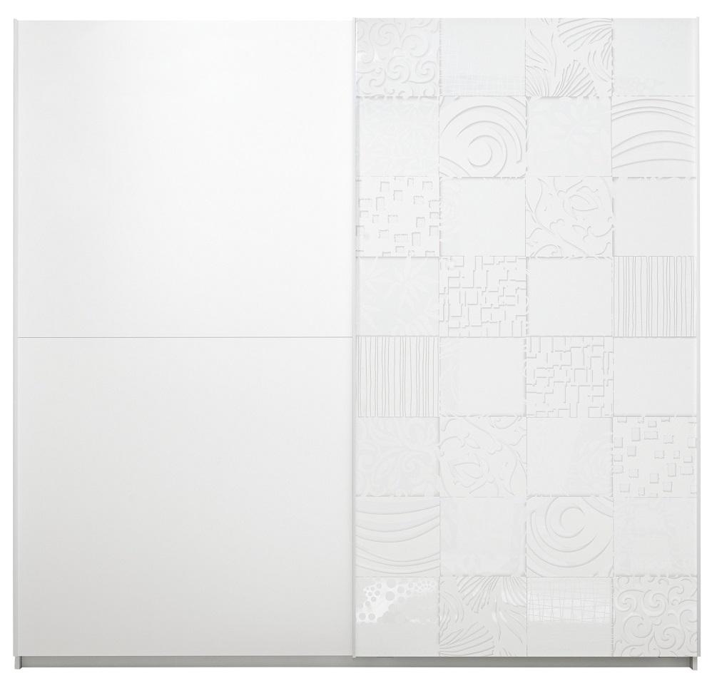 slaapkamerkast zweefdeurkast Perez 220 cm breed in mat wit met hoogglans wit