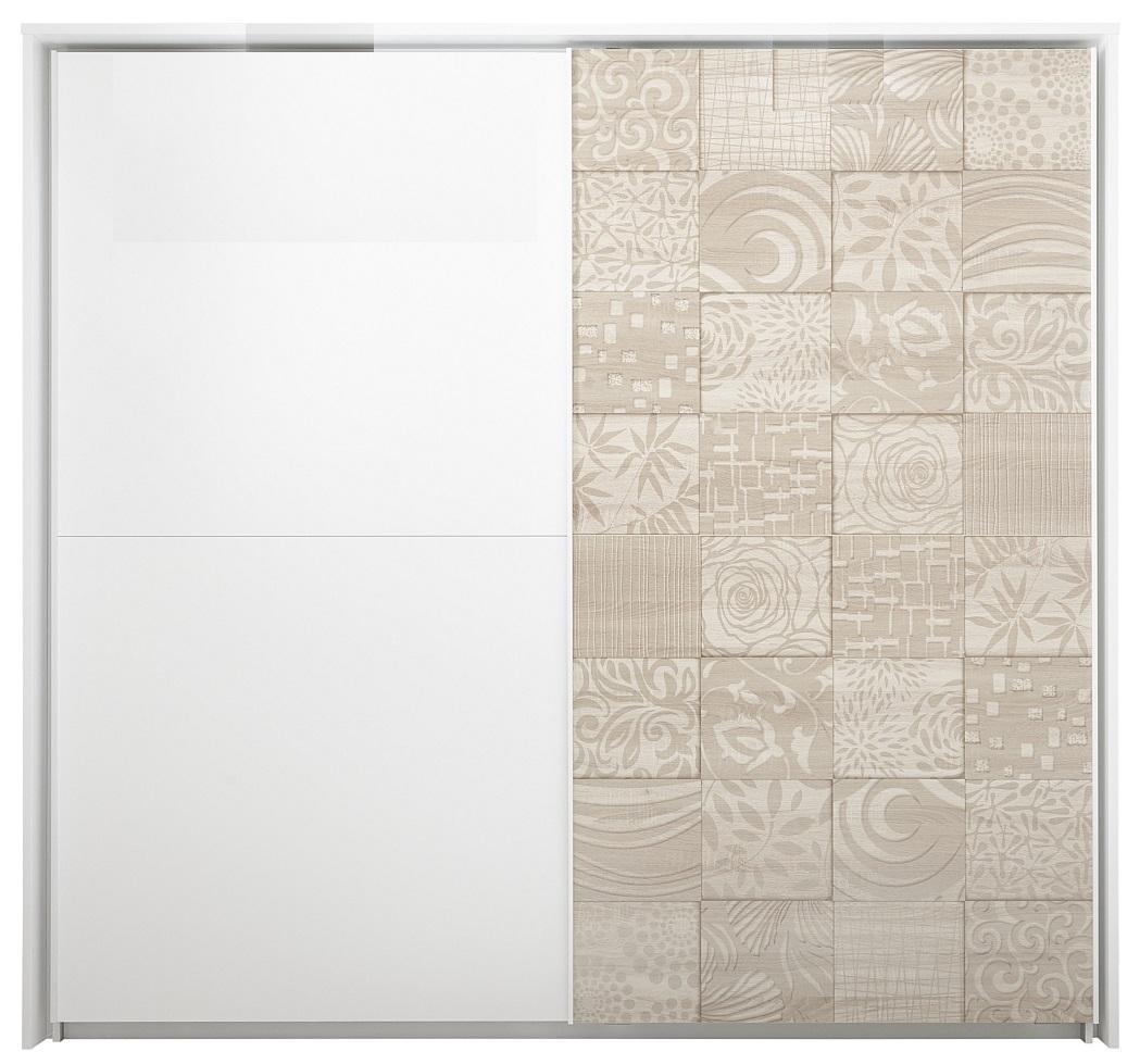 Schuifdeurkast Perez 220 cm breed in mat wit met sonoma eiken