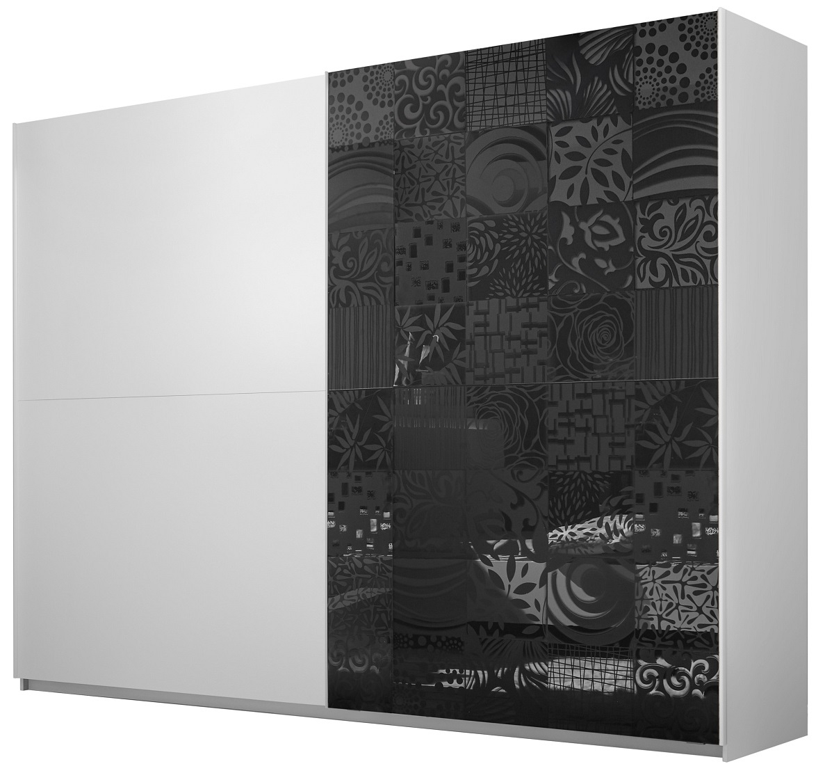 slaapkamerkast zweefdeurkast Perez 275 cm breed in mat wit met hoogglans antraciet