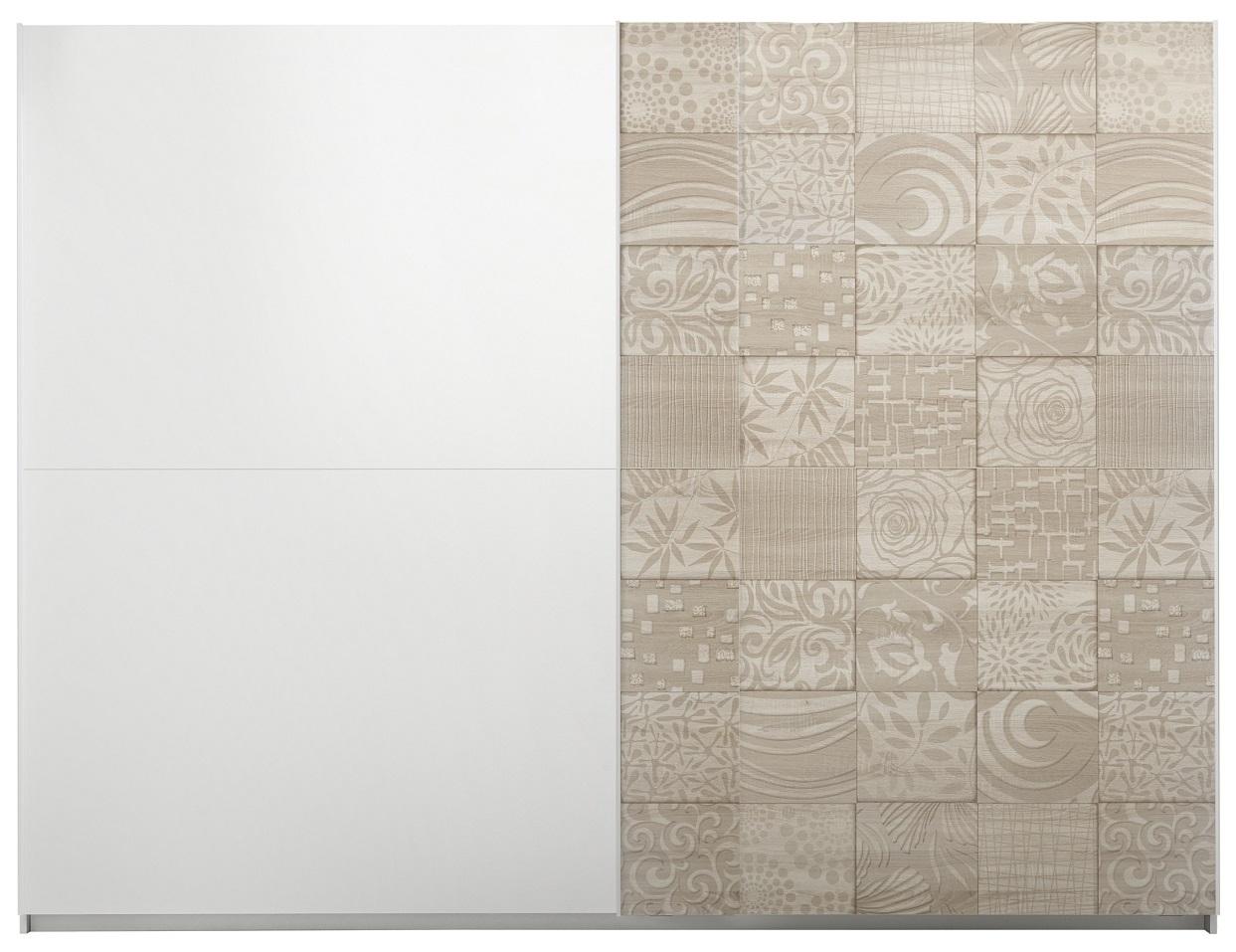 Schuifdeurkast Perez 275 cm breed in mat wit met sonoma eiken