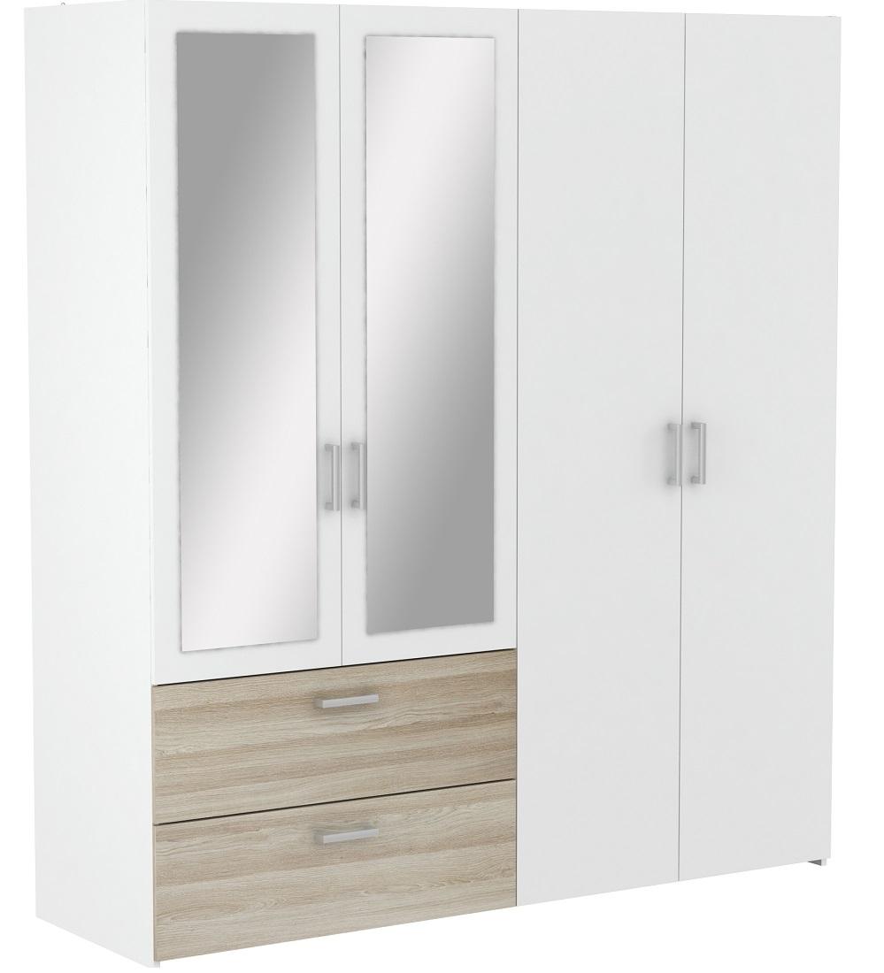 Slaapkamer kledingkast Ready Large 179 cm breed - wit met Shannon eiken