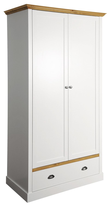 Kledingkast Sander 104 cm breed in wit met eiken