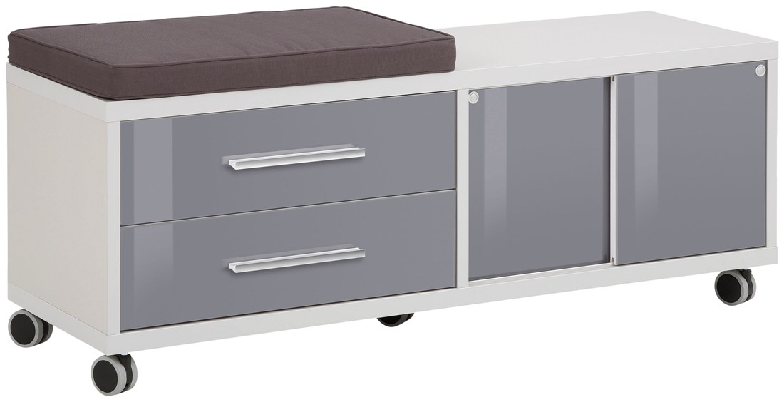Ladeblok Banco 133 cm breed Platina grijs met grijs