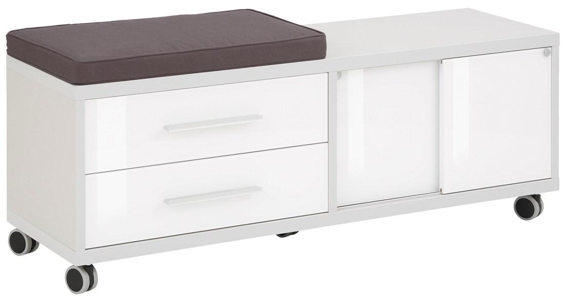 Ladeblok Banco 133 cm breed Platina grijs met wit