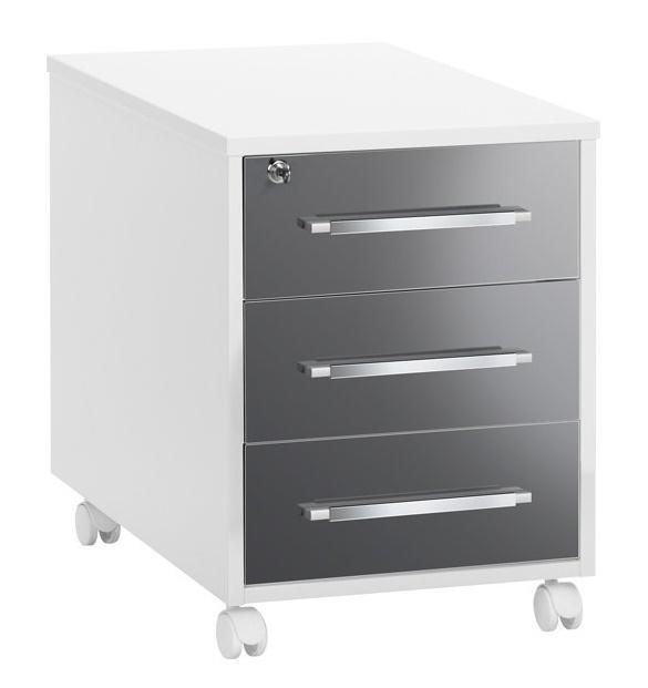 Ladeblok Jones 59 cm hoog - Hoogglans wit met grijs