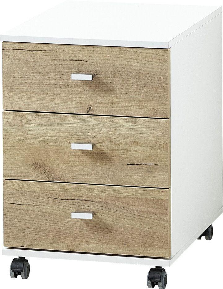 Ladeblok Lioni 58 cm hoog - Wit met Navarra eiken