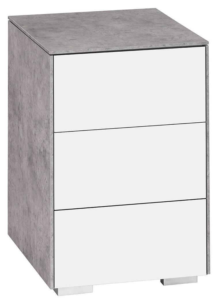 Nachtkastje Best 60 cm hoog in grijs beton met wit