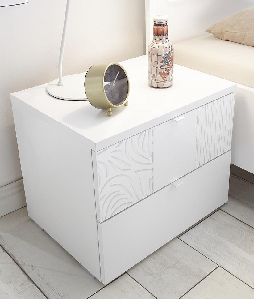 Nachtkastje Perez 42 cm hoog in mat wit met hoogglans wit