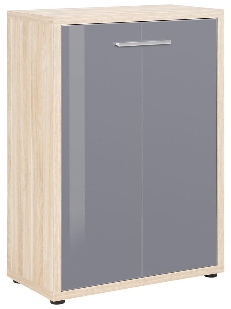Opbergkast Banco 110 cm hoog Eiken met grijs