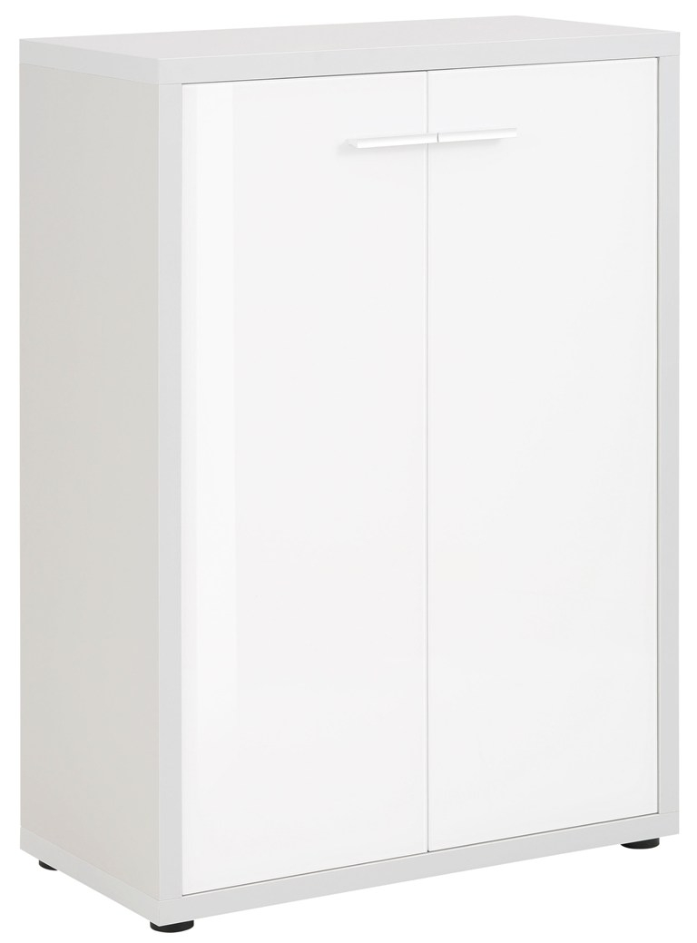 Opbergkast Banco 110 cm hoog Platina grijs met wit