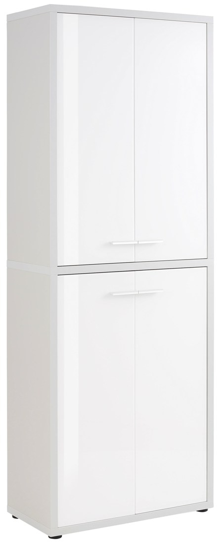 Opbergkast Banco 216 cm hoog - Platina grijs met wit